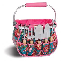 Picnic Plus Blossom Garden Tote. Keep your tools nearby with this Picnic Plus® Blossom garden tote. The laminated center storage holds your plants and supplies, while the exterior pockets keep the included hand tools secure. Canvas Tool Bag, Mobile Workshop, Blossom Garden, Turquoise Pattern, Garden Tool Set, Hand Tools, Totes, Picnic, Floral Prints