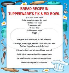 fix & mix bowl/bread Tupperware Bowls, Tupperware Recipes, Tupperware Organizing, Cream Cheese Roll Up, Bread Recipes, Cooking Recipes, Tupperware Consultant, Bread Bun, Bread Bowls