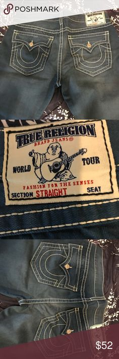 """True Religion brand jeans world tour classic jeans Blue True Religion Brand Jeans World Tour Fashion for the Senses Section Straight Seat. Waist to bottom 44"""", waist width 20"""". Size 40. 100% cotton. True Religion Jeans Straight"""