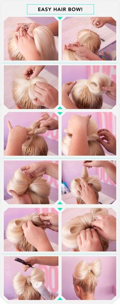 Hair Bow How To... I would never wear my hair like this because I couldn't pull it off but it looks fun!! :) ....maybe when Chloe's hair is longer