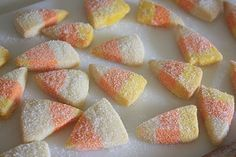 Candy Corn Cookies! Easy and will be on my Halloween Party/House Warming party food list.
