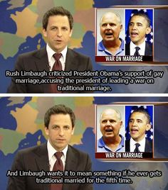 Seth Meyers, Weekend Update See, this is the problem I have...that brand of conservatives make me look bad!