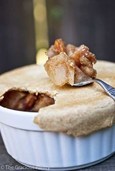 Clean Eating Apple Pot Pie: filling - 1 apple, 2 Tbsp golden raisins, 1 tsp ground cinnamon, 1/2 cup unsweetened apple sauce. crust - 1 1/2 cups whole wheat pastry flour, 1/8 tsp salt, 1/4 cup safflower oil, 1/4 cup milk or soy milk, or almond milk, 2 Tbsp honey, 1/2 tsp vanilla