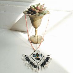 Antique Beaded Eagle Pendent Necklace by ShopKingDude on Etsy