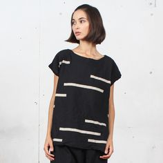UZINYC |   Black Broken Stripe Tunic