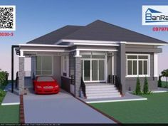 Modern, Villa-Style Single Storey House With Two Bedrooms - Ulric Home Modern Bungalow House Plans, Small House Floor Plans, Bungalow House Design, Craftsman House Plans, Bungalow Designs, Two Story House Design, Village House Design, Simple House Design, Modern House Design
