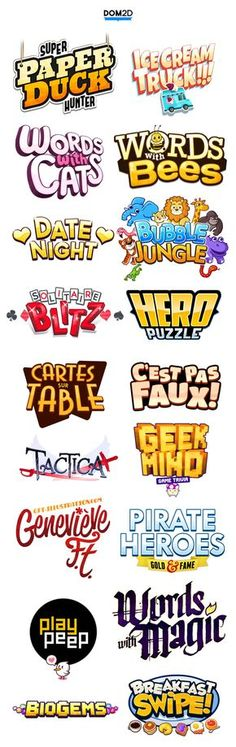 AWESOME game cartoony funky inspiring colorful cheerful funny logo inspiration Good for all kinds of graphic design and marketing mobile apps or games Check out my work on M s 2 Logo, Typography Logo, Typography Design, Bg Design, Game Logo Design, Graphic Design, Design Fonte, Logos Online, Inspiration Logo Design
