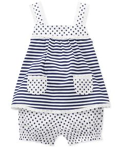 First Impressions Baby Girls' 2-Piece Striped Top & Bloomers Set