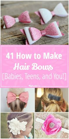 How to make hair bows and hair accessories that are beautiful and easy to make! These pictured hair bow tutorials teach you how to make DIY hair ribbons, baby bows, cheerleading bows for your hair, hair clips, and crochet hair bows. Crochet Hair Bows, Fabric Hair Bows, Hair Ribbons, Toddler Hair Bows, Girl Hair Bows, Girls Bows, Bows For Hair, Easy Hair Bows, Homemade Hair Bows