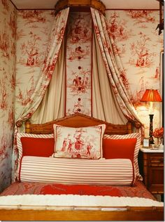 "Wonderful combination of toile, stripes and solid!  Always a good ""go to"""