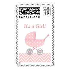 Pink and White Chevron, Stroller, Baby Girl Postage