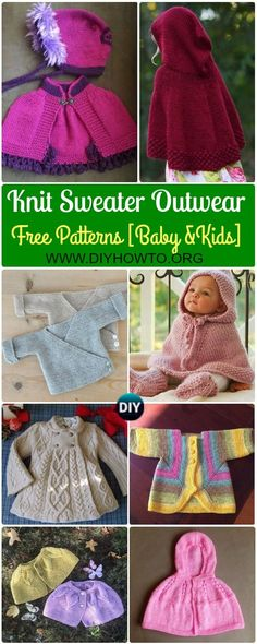 Collection of Knit Baby Sweater Outwear Free Patterns & Tutorials, kids capes, kids poncho, jacket coat for Early Spring, Autumn and Winter via @diyhowto