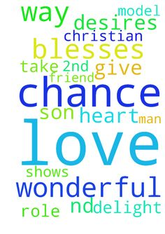 I pray God blesses me with a 2nd chance at love and - I pray God blesses me with a 2nd chance at love and shows me the way by His will and way to a wonderful Christian man who will be a wonderful friend and role model to my son. Take delight in the Lord, and he will give you the desires of your heart. Posted at: https://prayerrequest.com/t/HJ1 #pray #prayer #request #prayerrequest