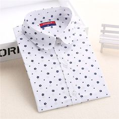110d8092e493 Collared White with Small Flowers Blouse Shirt. Women SleeveCasual ...