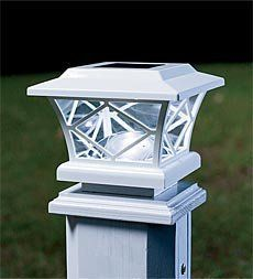 """Mission Solar Post Cap Lights, Set of 2 by Problem Solvers. $49.95. Mission Solar Post Cap Lights, Set of 2. Solar-powered cap lights are designed for installation on a fence post or railing. Get hassle-free lighting with no wiring. Classic styling makes them a decorative asset to your home while lighting the way for safety. Our Solar Light Adapter Cap is designed to adapt our beautiful solar post cap lights to larger posts. Purchase the adaptor to fit lights to 6"""" p..."""