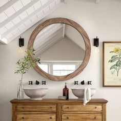 #BlackBathroomDecor Farmhouse Bathroom Mirrors, Farmhouse Vanity, Rustic Bathroom Vanities, Brown Bathroom, Wooden Wall Decor, Wooden Walls, Mirror Set, Wall Mirror, Vanity Mirrors