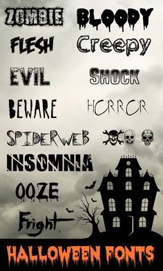 These Halloween fonts are great for making party place-cards, gift tags, decorative signs, banners, you name it! Free Fonts for Halloween Free Fonts For HalloweenFree Dingbats For Fa. Halloween Fonts, Halloween Cards, Holidays Halloween, Halloween Ideas, Halloween Clipart, Halloween Quotes, Halloween Invitations, Spooky Halloween, Desenhos Halloween