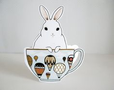 Bunny in a Teacup Blank Greeting Card by TwoBlackCatsStudio, $4.00