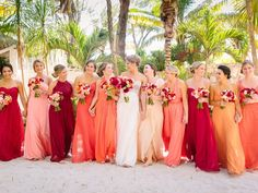 A colorful bridal party at a destination wedding in Tulum, Mexico ... love this  ,,,