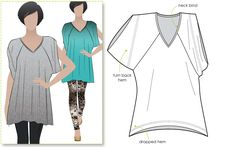 Sewing Blouse Tilda Tunic / Top Sewing Pattern By Style Arc - Great knit over Tunic with the look of the moment - Great knit over Tunic with the look of the moment Tunic Sewing Patterns, Sewing Blouses, Modern Sewing Patterns, Dress Making Patterns, Tunic Pattern, Clothing Patterns, Costura Plus Size, Costura Diy, Fashion Bubbles