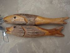 "Chain Saw Art String Of Wood Fish Rustic Fishing Cabin Decor 35"" Long String"