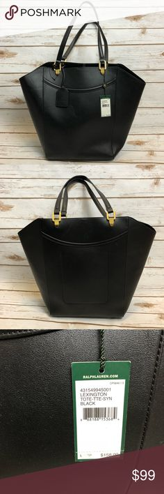 NWT RALPH LAUREN LEXINGTON TOTE! NWT Ralph Lauren black tote! Very soft leather. One pocket inside. Has some light imprints on leather (last photo).  Smoke free, clean home. Feel free to reach out with any questions!  Lexington Tote-TTE-SYN-BLACK 431549945001 Lauren Ralph Lauren Bags Totes