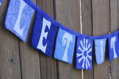 blue and white Christmas. Fabric banner bunting garland decoration snow flakes by eljahb, $48.00