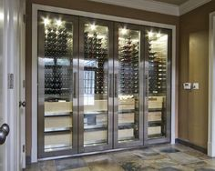 Modern Stainless Wine Cellar Cabinet, Modern Wine Cellar, Vancouver