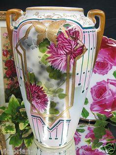 Royal Nippon Nishiki Large Hand Painted Vase Mums Butterfly 1890 1920 | eBay
