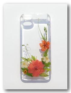 Handmade iPhone 5/5s case, Resin with Dried Flowers, Pressed flower art (178)
