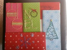 These are my finished needlepoint cards. Used colourful cardstock and mixture of embroidery thread and string. Cut the cards to fit in a standard legal size envelope.