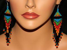 Native American Dangle Beaded Earrings, via Etsy.