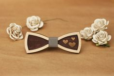 Women Bow Ties with hearts. 3D wood bow tie with leather. Gift for women, for girl, for her. For party, for birthday, for mother day. by BuffBowTie on Etsy