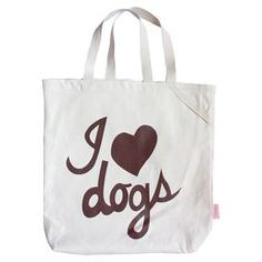 Organic cotton tote bag with I Love Dogs silk screen print. Product: ToteConstruction Material: CottonColor: ChocolateFeatures: Designed by Kate Lalic for Romy + Jacob Pet GiftsDimensions: 12 H x 15 W x 0.2 D