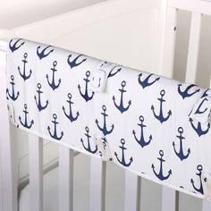 product image for The Peanut Shell® Anchor Crib Rail Guard in White/Navy