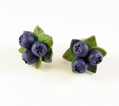 Siberian berry Stud Earrings Polymer clay Blue by PommeDeNeige