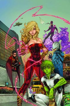 Will Pheifer and KENNETH ROCAFORT are debuting New Teen Titans in July (and Beast Boy is green again) red robin wonder girl beast boy raven bunker Marvel Dc Comics, Dc Comics Art, Read Comics, Image Comics, Deathstroke, Young Justice, Cassie Sandsmark, Red Robin, New Teen