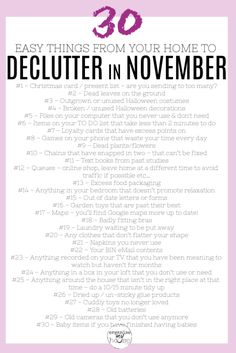 31 Easy Things to Declutter from Your Home in November – incl. Checklist Great list of things at home and in life to declutter in. Cleaning Checklist, House Cleaning Tips, Spring Cleaning, Cleaning Hacks, Cleaning Routines, Daily Cleaning, Declutter Your Life, Cleaning Solutions, Decluttering