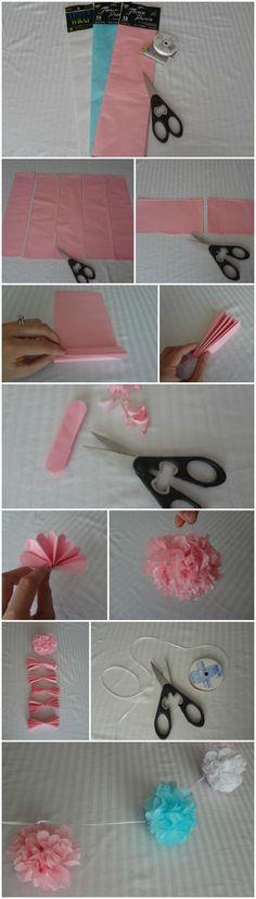 Baby diy tutorial pom poms 46 new ideas Tissue Pom Poms, Pom Pom Garland, Tissue Paper Flowers, Paper Poms, Diy Flowers, Tassel Garland, Paper Art, Paper Flower Garlands, Tassels