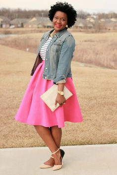 Modest Pink Skirt and Denim Jacket
