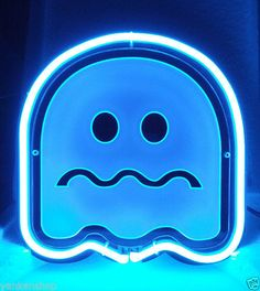 Pac-Man Blue Ghost Neon Sign