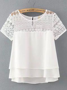 Manga corta blanca del cordón flojo blusa de la gasa -SheIn (Sheinside)