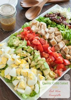 Classic Cobb Salad w Red Wine Vinaigrette <--salad perfection. Sponsored by Healthy Salads, Healthy Eating, Healthy Recipes, Red Wine Vinaigrette, Summer Salads, Soup And Salad, Pasta Salad, Cooking Recipes, Vegetarian Recipes