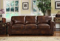brown leather couch - Google Search