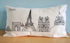 Paris Pillow Cover / Skyline Lumbar Pillow / by emilykatemakes