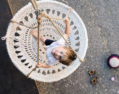 Mandala de ganchillo Swing - silla de ganchillo blanco reciclado hecho a mano…