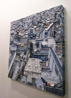 Amazing work! the artwork is made of denim fabric!