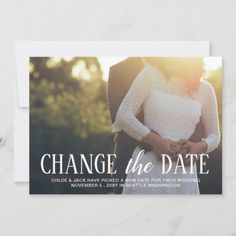 Modern Minimal Typography Photo Change The Date Save The Date Photo Thank You Cards, Wedding Thank You Cards, Beautiful Wedding Invitations, Wedding Invitation Design, Elegant Wedding, New House Announcement, Announcement Cards, Wedding News, Wedding Announcements