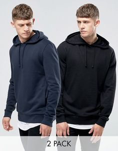 ASOS | ASOS Hoodie 2 Pack Black/ Navy SAVE 15%