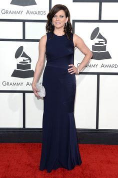Martina McBride Evening Dress - Martina McBride opted for this no-frills navy evening dress by David Meister when she attended the Grammys.